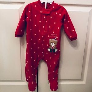 My first Christmas footed fleece pajamas—9 months